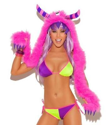 Monster Hood Costume (Furry Monster Hood Hat Horns Claws Costume Clubwear Fuzzy Neon Pink)