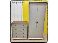 Wooden Wardrobe & Chest of drawers Hand Painted in ANNIE SLOAN Paris Grey & Honfleur Chalk Paint.