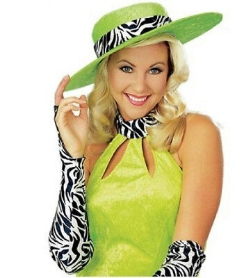 Sweet and Sour Lime Green with Zebra Print Pimpette Lady Pimp Costume Hat