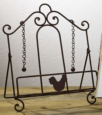 Rooster Metal Cookbook Holder Stand Weights Brown Farmhouse Kitchen Decor