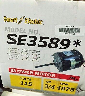 34 Hp Furnace Blower Motor Se3589 Em3589 -115v-1075 Rpm-reversible-10 Amp New