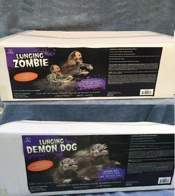 Halloween LUNGING ZOMBIE DEMON MAD DOG & REAPER Props YOU GET BOTH FREE - Zombie Dog Halloween Prop