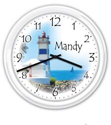 Lighthouse PERSONALIZED Wall Clock - Ocean Beach - GREAT GIFT