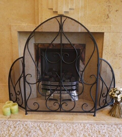 Gothic Arched Style Metal Fire Guard/Fire Screen - Black 3 Panels(2721)