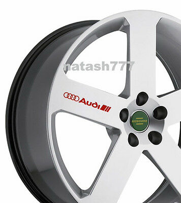 4 - AUDI Decal Sticker Racing Sport  S- Line Wheels Rims emblem logo RED