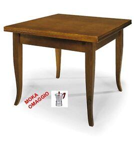 Tavolo da pranzo classico noce quadrato apertura a libro for Tavolo da pranzo classico