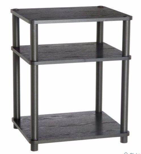 Hi-Fi Unit - Black 3 Shelf Wood Effect