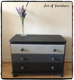 "Pine Chest Of 3 Drawers Hand Painted in ANNIE SLOAN Graphite Chalk Paint ""Upcycled """
