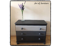 Pine Chest Of 3 Drawers Hand Painted in ANNIE SLOAN Graphite Chalk Paint Upcycled