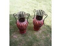 2 indoor ornamental vases