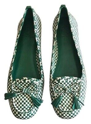 EUC $295 Tory Burch Russell Soft leather Woven Checkered Women's Flats-Size 8M