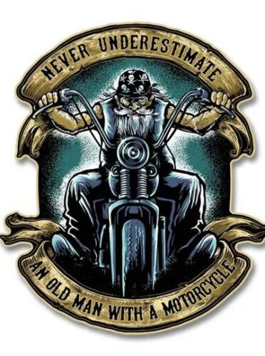 "4 inch decal Never Underestimate an Old Man with a Motorcycle 4"" Decal"