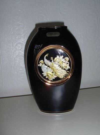 Black Chokin Art Vase With Peacock Design In Burnage Manchester
