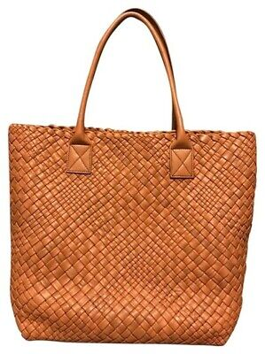 NWT FALOR FALORNI HAND WOVEN ITALIAN LEATHER TOTE F1883 TAN / LIGHT BROWN