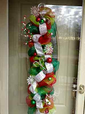 Christmas, Festive, Solitary, Winter, Red, Green, Deco Mesh Door Welcome Swag