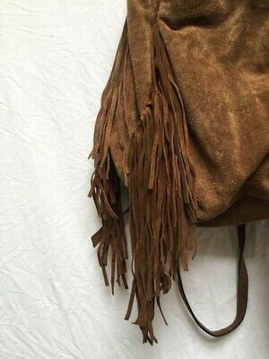 Zara Fringe Leather Bag Brown, Medium, Good Condition