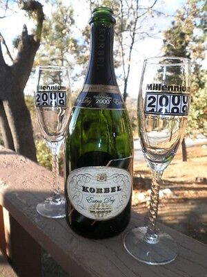 Korbel Champagne Millenium Bottle-2 Glasses-Hollywood Sign Gala Party Pass-Y2K