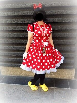 NEW Handmade Disney Minnie Dots Adult Dress Custom Sz S/M/L Halloween/Stage Play - L'halloween Disney