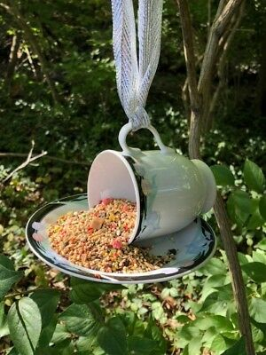 NEW Handmade Tea Cup Bird Feeder with a Modern Floral Design