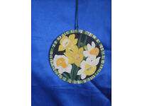 Daffodils on Welsh Slate Hand painted Wall hanging plaque