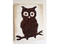 Morning owl: coffee beans painting on a 14'' x 11'' canvas