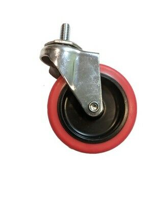 3 Caster Wheels Swivel Stem Casters On Red Polyurethane Wheels