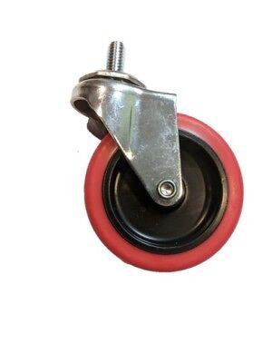 3 Caster Wheels Swivel Stem Casters On Red Polyurethane Wheels
