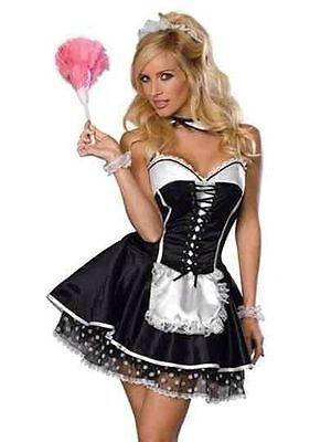 Halloween SEXY NAUGHTY Waitress MAID COSTUME OUTFIT DRESS FANCY DRESS  HEN ](Naughty Maid Halloween Costume)