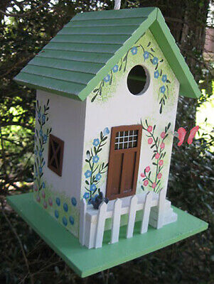 Butterfly Cottage Wooden Birdhouse, Green