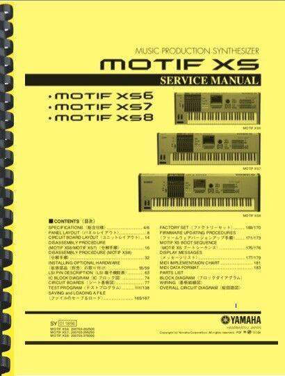 Yamaha MOTIF XS6 XS7 XS8 Synthesizer SERVICE MANUAL  - $29.95