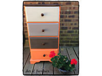 Pine Tallboy Chest Of 4 Drawers Hand Painted in ANNIE SLOAN Chalk Paint. Upcycled.