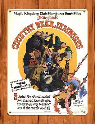 "TIN SIGN ""Disney's Country Bear Jamboree"" Disneyland Ride Art Poster"
