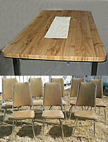 kitchen/dining set Large table (2 leafs) and 8 brown chairs