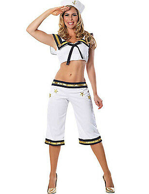 SEXY WOW MATEY NAUTICAL SAILOR crop top pants Halloween Cosplay Costume