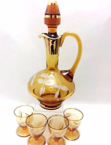 Vintage amber art glass decanter & liqueur shot glasses set