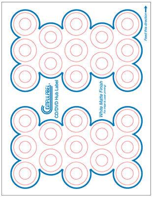 520-pak Matte Finish Cddvd Hub Labels 20 Sheets 26 Per Sheet