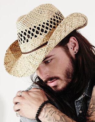 Beechfield Trilby Hat Strohhut Cowboy Hut Straw Flechtmuster COWBOY HUT NEU