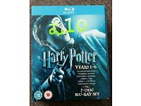Harry Potter years 1-6 blu ray disk set