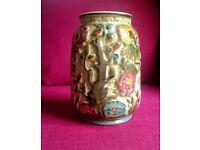 VINTAGE 1960's H J Wood Ltd Indian Tree Relief Vase Burslem Pottery Hand Painted
