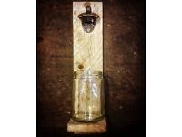 Rustic handmade wall mounted beer bottle opener
