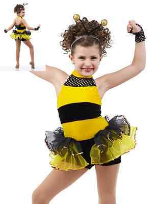 Busy Bumble Bee Dance Costume Leotard w/Headpiece & Wings Showcase AL AM CXL - Bumble Bee Leotard