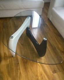 Beautiful Coffee Table With Safety Glass Black & White High Gloss Legs