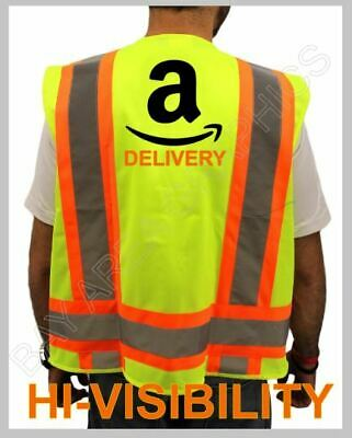 Delivery Driver Amazon Hi-visibility Safety Vest Class-2 Yellow Reflective
