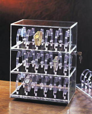Rotating 36 Wrist Watch Jewelry Display Acrylic Case