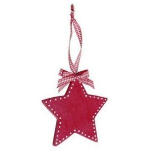 1 RED WOODEN HEART Christmas TREE STAR HANGING DECORATION GINGHAM RIBBON RETRO
