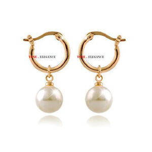 9ct yellow gold GF pearl huggies hoop wedding bride ladies solid earrings