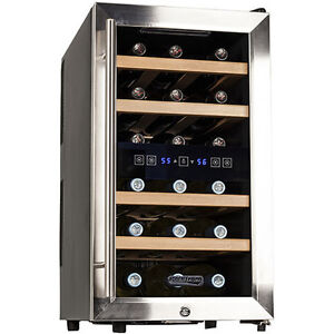 18 Bottle Dual-Zone Wine Cooler, Stainless Steel Compact Glass Door Refrigerator