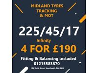 225 45 17 Infinity 4 tyre deal £190 Fit & Balance