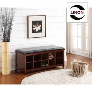 NEW* LINON CAPE ANNE BENCH DARK WALNUT 108369949