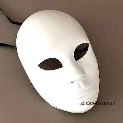 White Blank Unisex Full Face Halloween Ball Prom Costume Masquerade - Halloween White Face